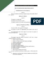 Law on the Business Registers Agency - Zakon o Agenciji Za Privredne Registre