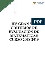 Criterios de Evaluación de Matemáticas Curso 2018-2019