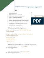 Ejercicio Sobre Operaciones Con Expresiones Algebraicas