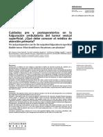 Cuidados pre y postoperatorios en la fulguración ambulatoria del tumor vesical superficial.