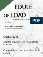 Schedule of Loads