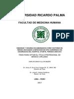 OBESIDAD Y CESÁREA DE EMERGENCIA COMO FACTORES DE  RIESGO ASOCIADOS A INFECCIÓN DE SITIO QUIRÚRGICO EN  CESAREADAS DEL HOSPITAL VITARTE, PERIODO 2009-2015