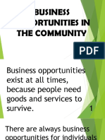 Business Opportunities in the Community