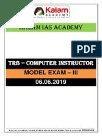 TRB-Model Exam - III - With Key - 07.06.2019