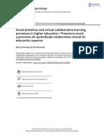 Social Presence and Virtual Collaborative Learning Processes in Higher Education Presencia Social y Procesos de Aprendizaje Colaborativo Virtual En