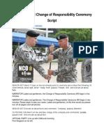 Company-level Change of Responsibility Ceremony Script