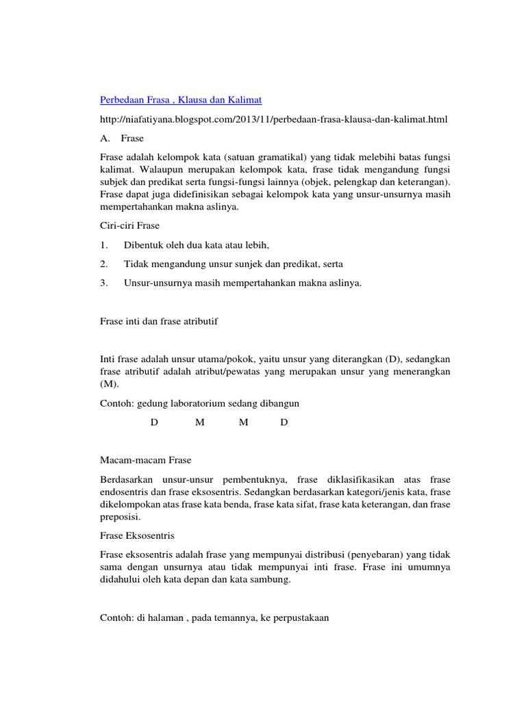 Frasa, Klausa Dan Kalimat   PDF