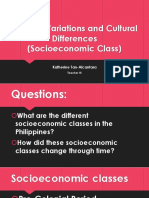 Lesson 2 Cultural Variations and Cultural Differences Socioeconomic Class