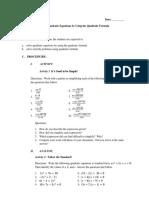 C1 L2D Quadratic Formula