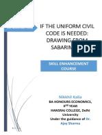 Research Project, Uniform Civil Code