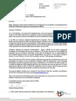Lettre de Maxime Pedneaud-Jobin au ministre Duclos