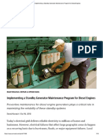 Implementing a Standby Generator Maintenance Program for Diesel Engines