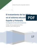 El Tratamiento de Las NEAEs en El Sistema Educativo de Finlandia y Espana