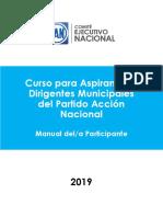 Curso para Aspirantes a Dirigencias Municipales del PAN 2019. Manual del Participante.