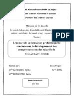 L'Impact de La Formation Professionnelle Continue Sur Le Développement Des Compétences Chez Les Salariés de SONATRACH DRGB
