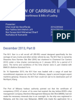 LAW of CARRIAGE II Seaworthiness & Bills of Lading