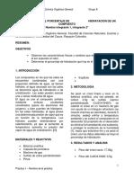 Informe de Determinacion de Porcentaje de Hidratacion de Un Compuesto