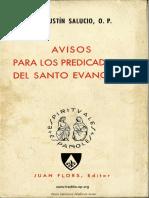 Aviso Para Los Predicadores Del Santo Evangelio, Fray Agustin Salucio OP