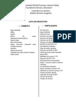 Lista de Reactivos Prácticas