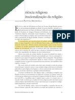 A Experiência Religiosa e Institucionalização Da Religião - Mendonça