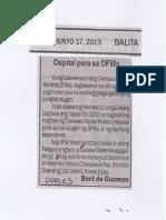 Balita, June 17, 2019, Ospital para sa OFWs.pdf