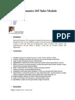 Microsoft Dynamics 365 Sales Module Overview