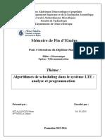 Algorithmes de Scheduling Dans Le Système LTE Analyse Et Programmation