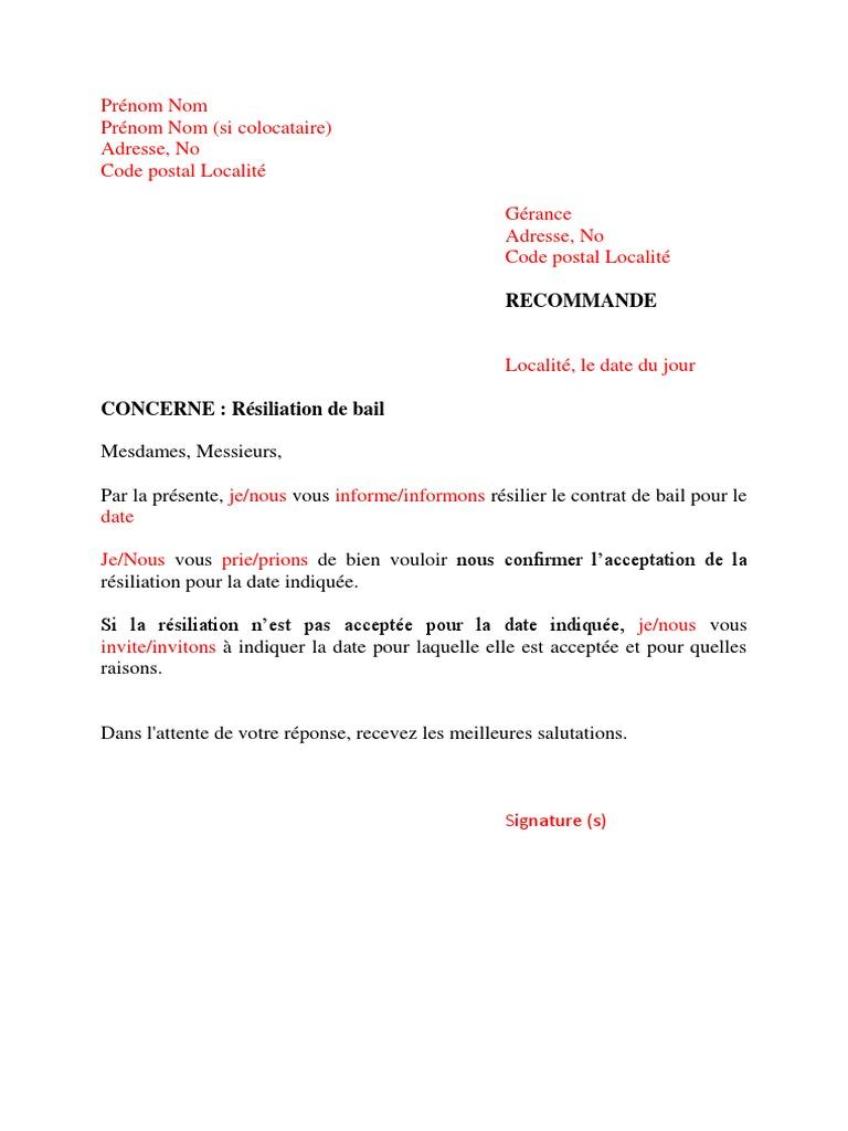 Lettre Type Resiliation Bail Docx