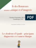 Bilan Clinique Et d'Imagerie de La Coiffe Des Rotateurs
