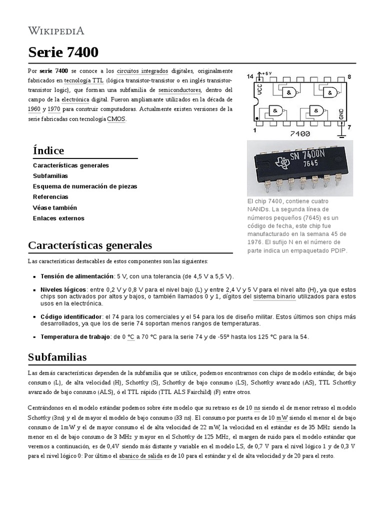 74 F Serie de transistor-transistor logic TTL circuitos Integrados