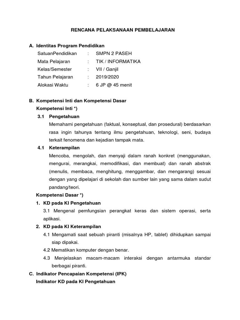 Rpp Mata Pelajaran Tik Informatika Smp Kelas 7