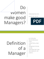 Do Women Make Good Managers