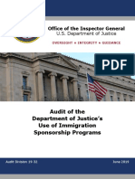 DOJ IG Audit of Immigration Sponsorship Program - 061719