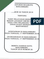 Perwali Tarif BLUD 26 Tahun 2018