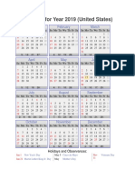 Calendar of Holidays in the US