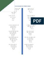 Ejercicios de Ecuaciones de Primer Grado