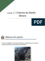 Criterios de Diseño Minero