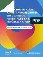 Situación de Niños Niñas y Adolescentes Sin Cuidados Parentales en Argentina 2017
