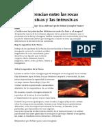 Diferencias Entre Las Rocas Extrusivas y Las Intrusivas