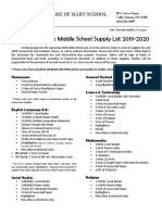 middle school supply list 2019-2020  grades 6-8