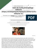 Manuela Carneiro Da Cunha_ Antropóloga Militante _ Revista Pesquisa Fapesp