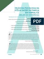 A Inserção da Psicologia na Estratégia Saúde da Família em Sobral CE