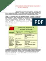 Agentes Contaminantes Causados Por Un Proceso de Soldadura e Impacto Ambiental