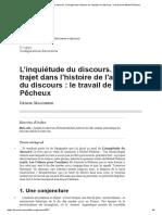 L'Inquiétude Du Discours. Un Trajet Dans l'Histoire de l'Analyse Du Discours_ Le Travail de Michel Pêcheux - Maldidier