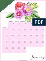 2018 Calendar Pinkbouquet