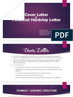 Cover letter and financial hardship letter