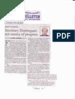 Manila Bulletin, June 18, 2019, Secretary Dominguez not enemy of progress.pdf