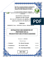 Estimation Des Reserves Et Prevision de La Production Des Hydrocarbures