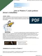 Servicios Innecesarios en Windows 7 Posibles de Detener o Deshabilitar