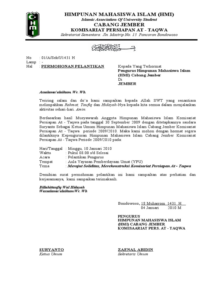 Contoh Surat Mandat Hmi